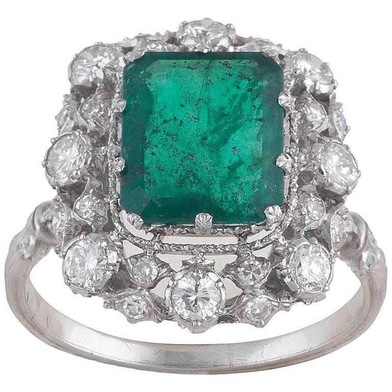 Buccellati White Gold Emerald Diamond Cluster Ring