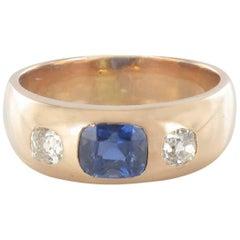 1900s Men or Women Sapphire Diamonds 18K Gold Band Ring