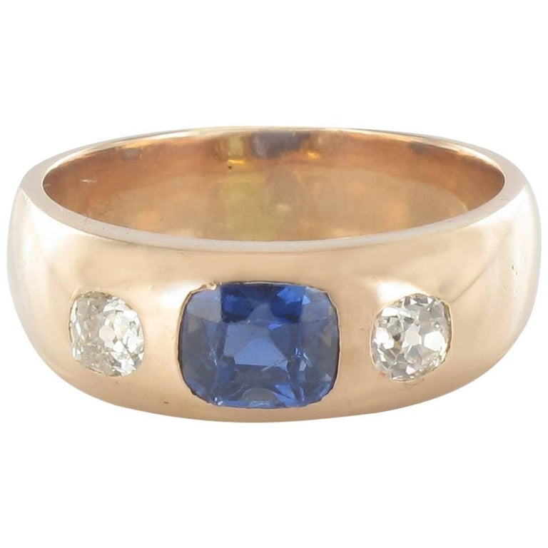 1900s Men or Women Sapphire Diamonds 18K Gold Band Ring