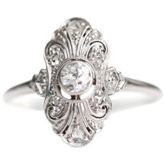 1920s .25 Carat Old European Diamond Engagement Ring, Platinum and 18 Karat Gold