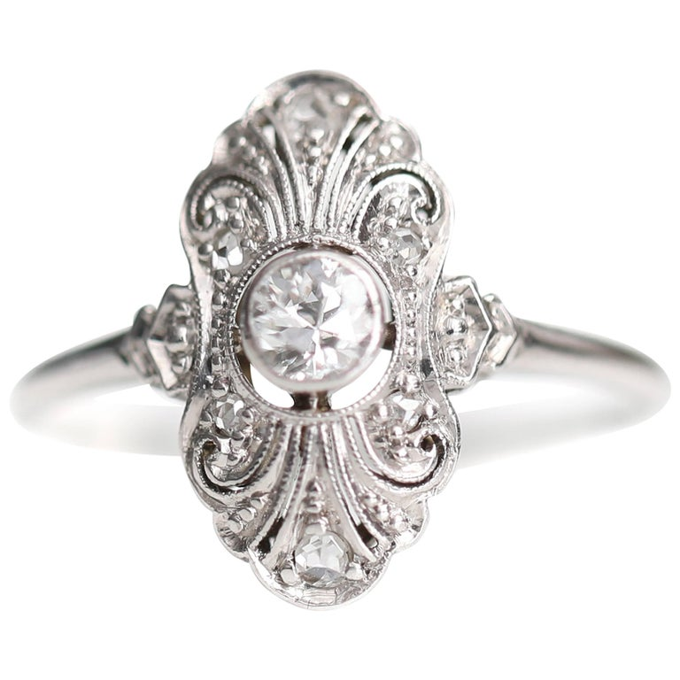1920s .25 Carat Old European Diamond Engagement Ring, Platinum, 18k White Gold For Sale