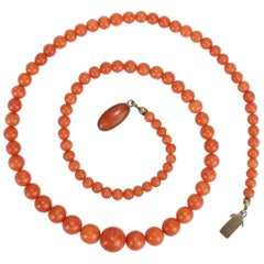 Graduated Salmon Coral Beaded Necklace with 800 Silver Clasp