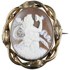 Victorian Bull Mouth Shell Cameo Brooch
