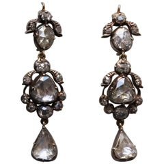 Rose Cut Diamond 19th Century Earrings