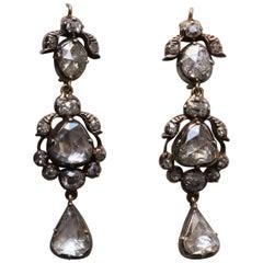 Rose Cut Diamond 19th Century Earrings