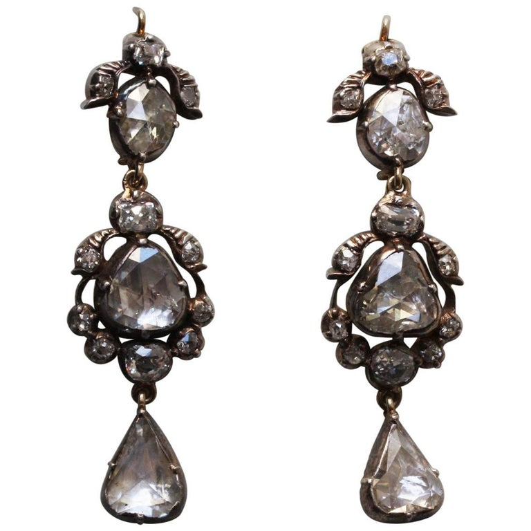 Rose Cut Diamond 19th Century Earrings For Sale