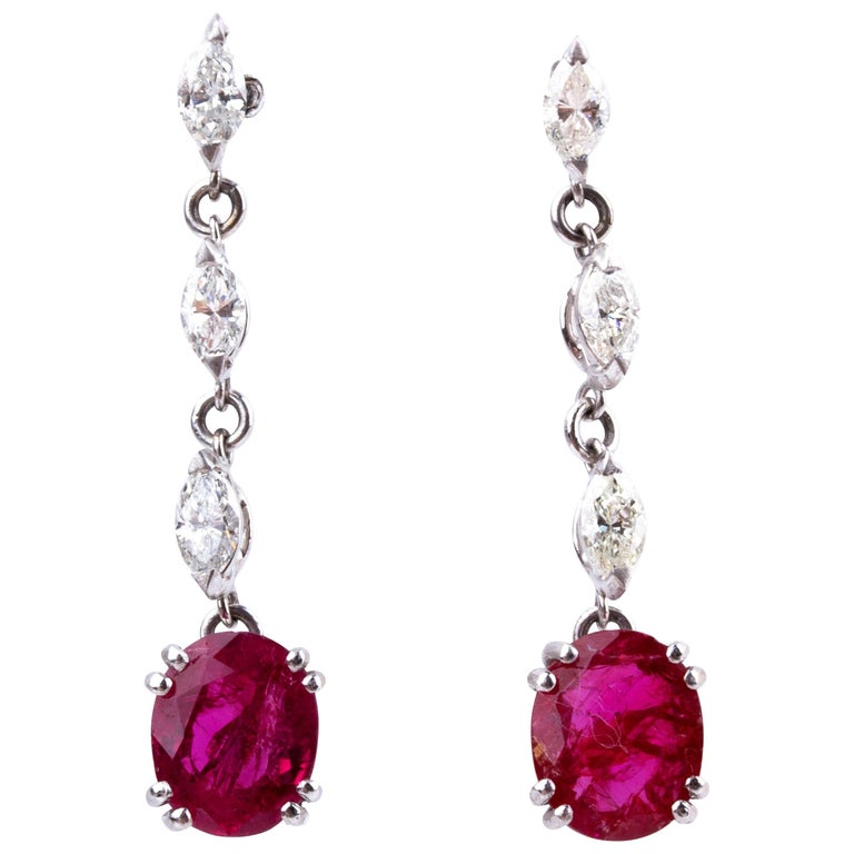 Pair of Gold Ruby and Diamond Pendent Earrings