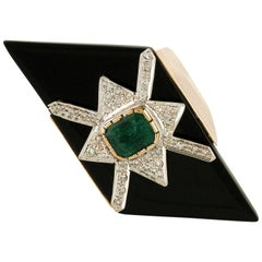 Rose Gold Ring with Diamonds, Emeralds and Onyx