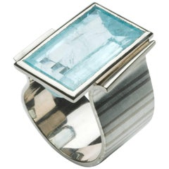 Annabel Eley 14.1 Carat Aquamarine White Gold Fine Silver Cocktail Ring
