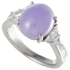 Diamond and Purple Jade Platinum Ring
