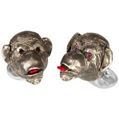Deakin & Francis Cheeky Monkey Blackened Silver Ruby Cufflinks