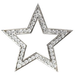 2005 Tiffany & Co. 1 Carat Diamond Platinum Star Brooch