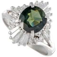 Diamond and Green Sapphire Platinum Ring
