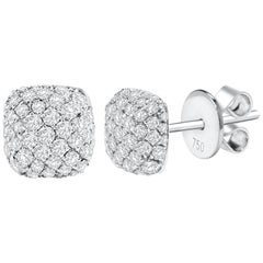 0.90 Carat Total Round Diamond Pave Stud Earrings