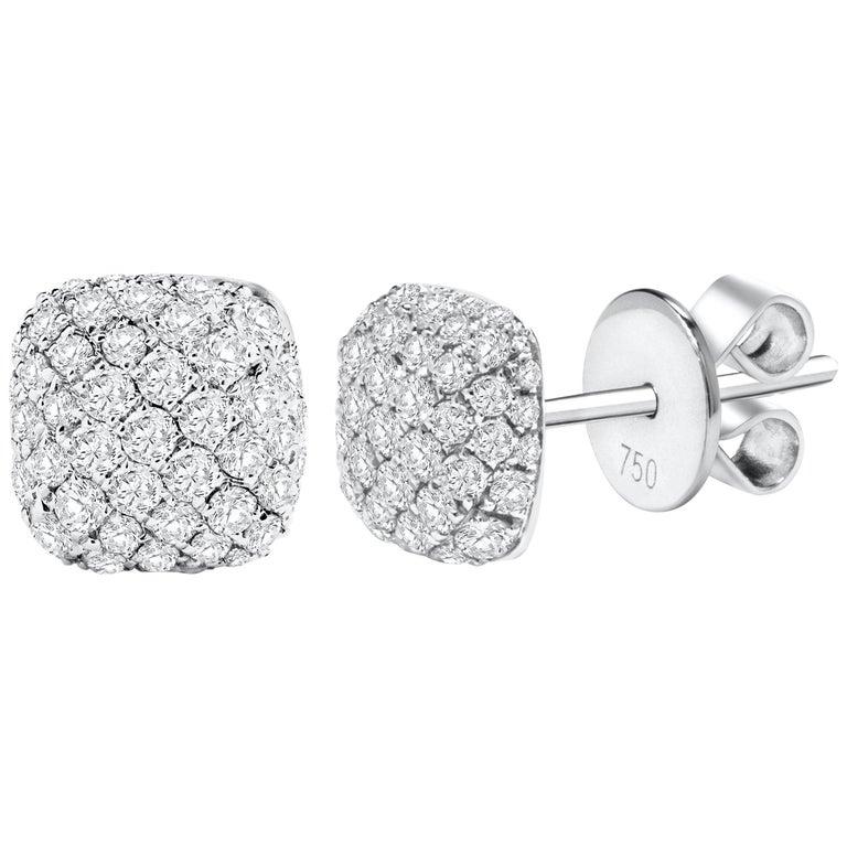 0.90 Carat Total Round Diamond Pave Stud Earrings
