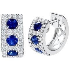 Blue Sapphire and Diamond Huggie Hoop Earrings