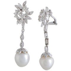 Diamond and Pearl White Gold Dangling Clip-On Earrings
