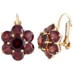 Garnet and Yellow Gold Screw Back Earrings