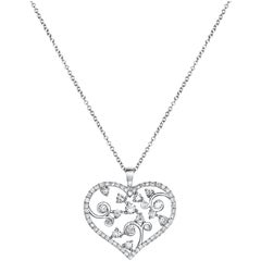 Diamond Open Work Heart Pendant Necklace
