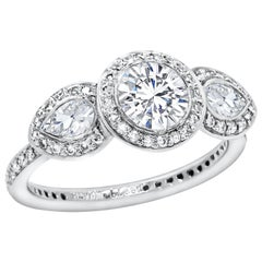 Round Diamond Three-Stone Halo Engagement Ring