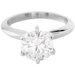 Platinum Round Brilliant Cut Solitaire Diamond Ring