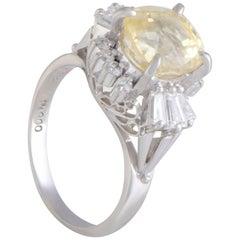 Diamond and Yellow Sapphire Platinum Ring
