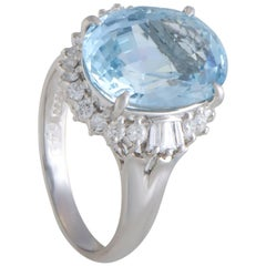 Diamond and Aquamarine Platinum Ring