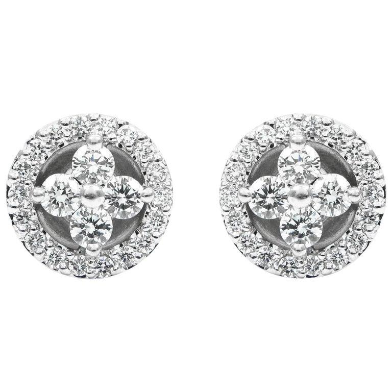 Floral Diamond White Gold Cluster Stud Earrings