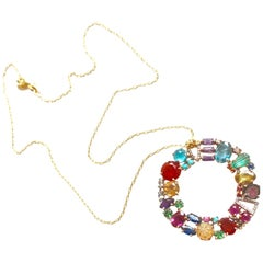 18 Karat Gold Multicolored Gemstone and Diamond Beni Necklace