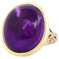 Italian Amethyst Cabochon Set Gold Ring