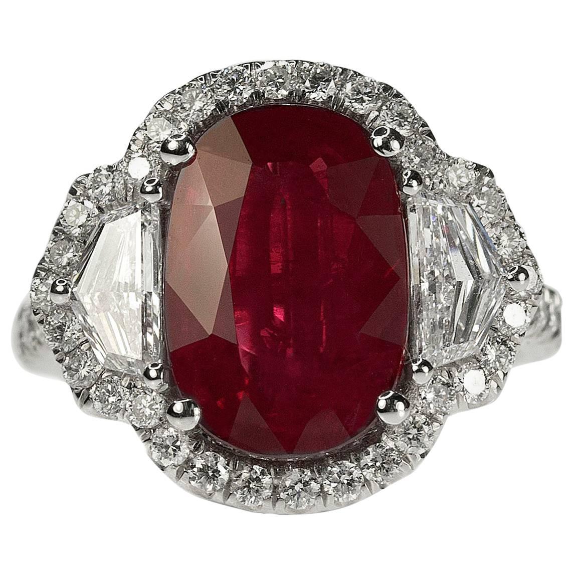 5.06 Carat Burma Ruby Platinum Ring