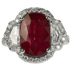5.06 Carat Burma Ruby Platinum Ring
