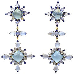 Aquamarine and Sapphire Gold Silver Elegant Dangling Earrings