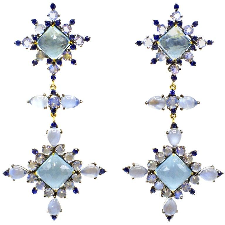 Aquamarine and Sapphire Gold Silver Elegant Dangling Earrings