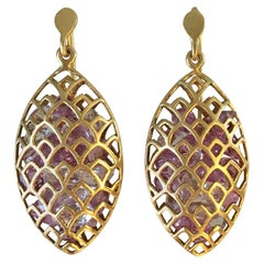 Pink Sapphire Yellow Gold Marquis Earrings