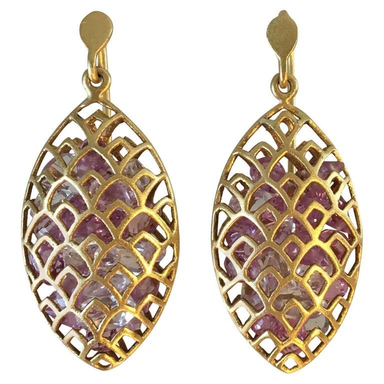 Lauren Harper Pink Sapphire Yellow Gold Marquis Earrings