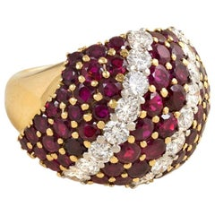 1950s Ruby and Diamond Bombé Cocktail Ring in 18k Gold