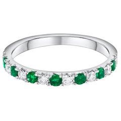 Alternating Green Emerald and Diamond Half-Way Wedding Band
