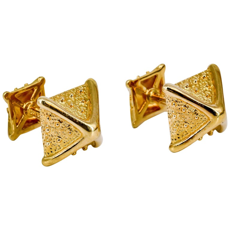 Tiffany & Co. Schlumberger Gold Pyramid Cufflinks For Sale