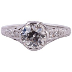 Edwardian Platinum 1.19 Carat Diamond Ring