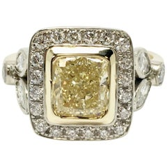 Fancy Yellow 1.66 Carat Cushion Cut Diamond Ring