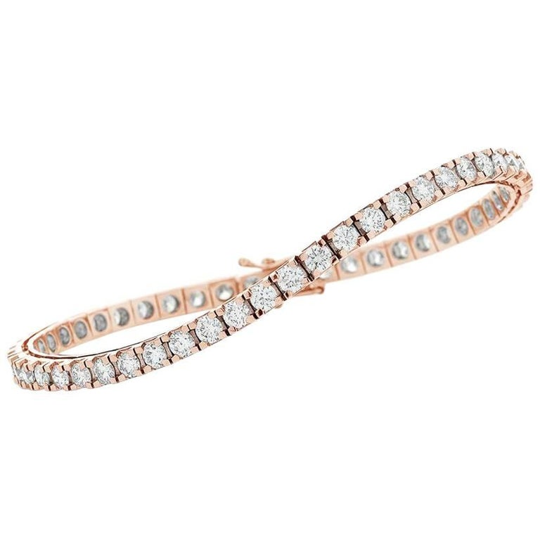 18ct Rose Gold White Diamond Line / Tennis Bracelet