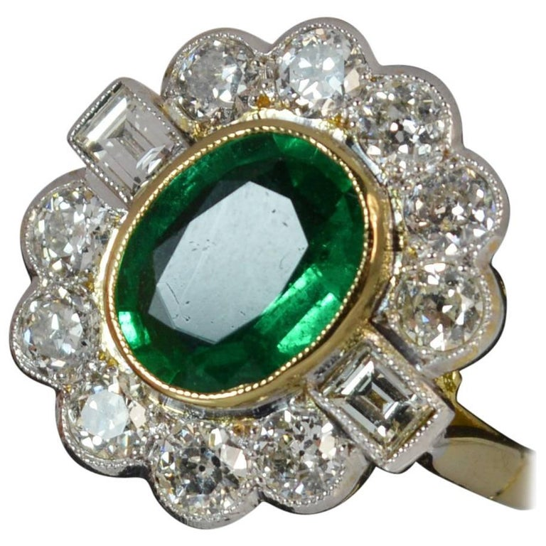 Large Emerald and 1.30 Carat Old Cut Diamond 18 Carat Gold Cluster Ring