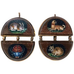 Antique Gold Mosaic Animal Earrings, circa 1875