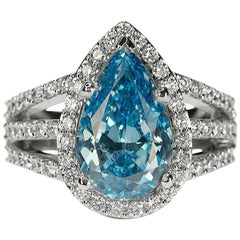 Fancy Vivid Blue HPHT Diamond Earrings in 18 Karat Gold