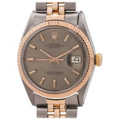 Rolex Rose Gold Stainless Steel Datejust Self Winding Wristwatch, circa 1969