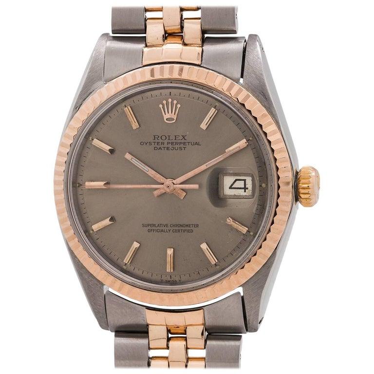Rolex Rose Gold Stainless Steel Datejust Self Winding Wristwatch, circa 1969