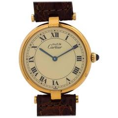 Cartier Man's Vermeil Vendome Tank Quartz Wristwatch, circa 1990s