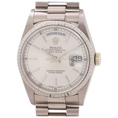 Rolex White Gold Day Date President Automatic Wristwatch Ref 18239, circa 1988