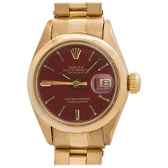 "Rolex Ladies Yellow Gold Date ""Stella Dial"" Self Winding Wristwatch, circa 1974"